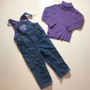 3T Fleece Lined Winter Overalls W/ Sweater Fall